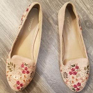 Embroidered Dusty rose pink Topshop Flats